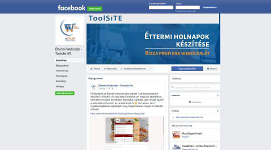 Éttermi weboldal a Facebook-on